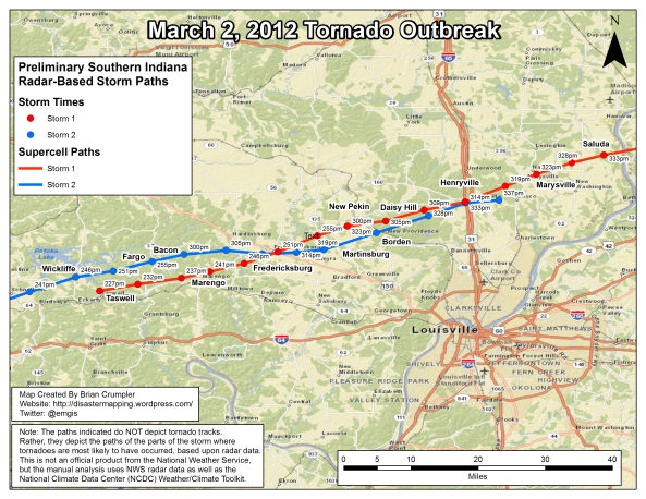 Map showing radar-based storm tracks of the two supercells that imacted the Southern Indiana towns of Henryville, Marysville, Borden and New Pekin.  Note how the paths of the storms parallel and in places even cross or overlap.